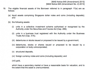 MAS notice 645 eligible financial assets
