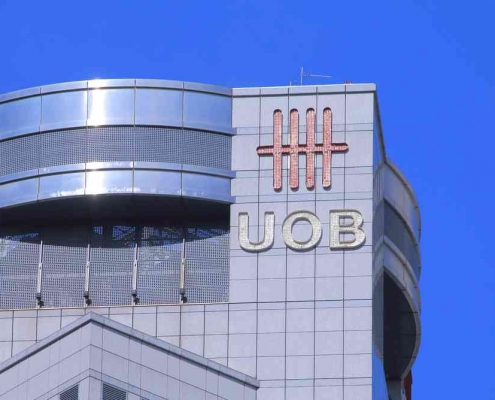 (F) UOB bank building with logo