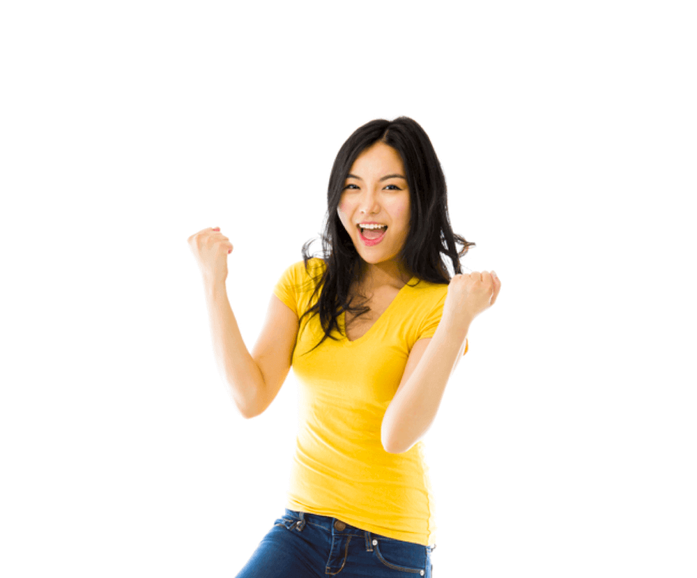 lady with hooray posture celebrating getting best home loan rates