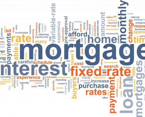 collage of mortgage related words
