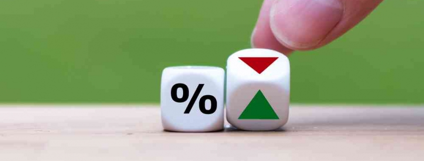 Dice showing interest rate can go either way up or down
