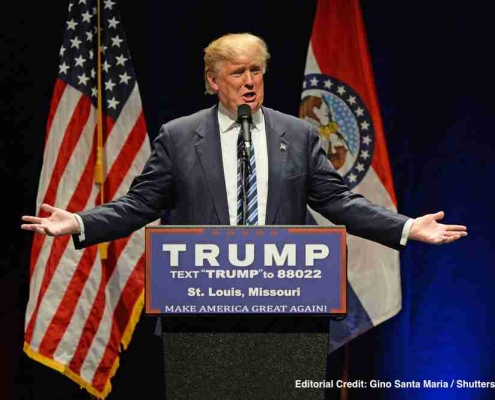 President of US Donald Trump speaking - trade policies and interest rate