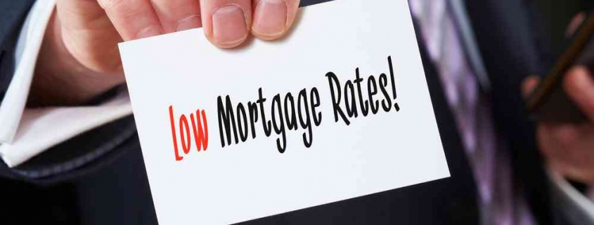 sign showing low mortgage rates