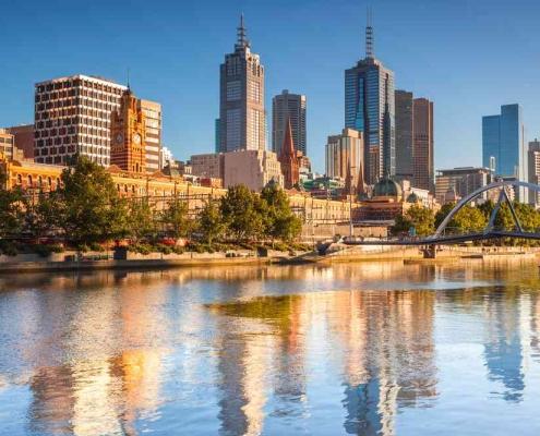 Melbourne properties in background