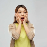 lady surprised with mortgage promotions